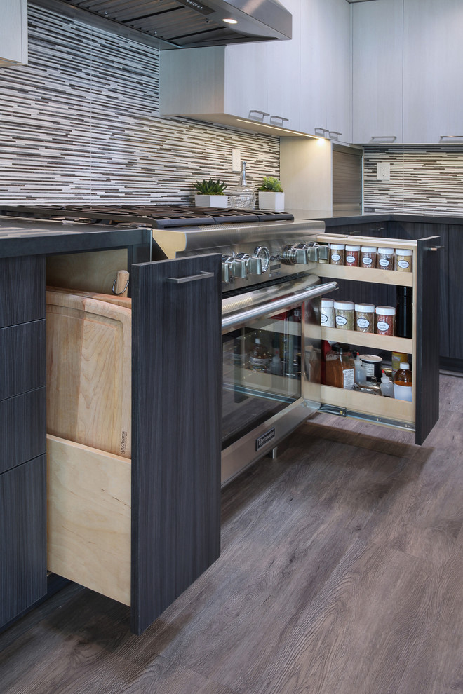 Inspiration for a mid-sized contemporary gray floor and laminate floor kitchen pantry remodel in Orange County with flat-panel cabinets, gray cabinets, porcelain backsplash, stainless steel appliances, an island, an undermount sink, quartz countertops and multicolored backsplash