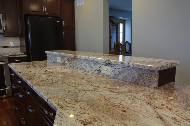 Bookmatched Granite Countertop Seams Traditional Kitchen Edmonton By K J 39 S Custom