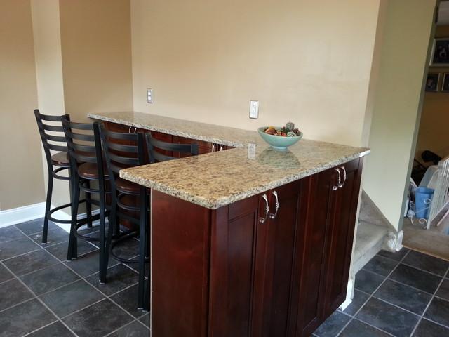 Bordeaux Shaker Kitchen with Eating Bar/Peninsula - Transitional - Kitchen - philadelphia - by ...