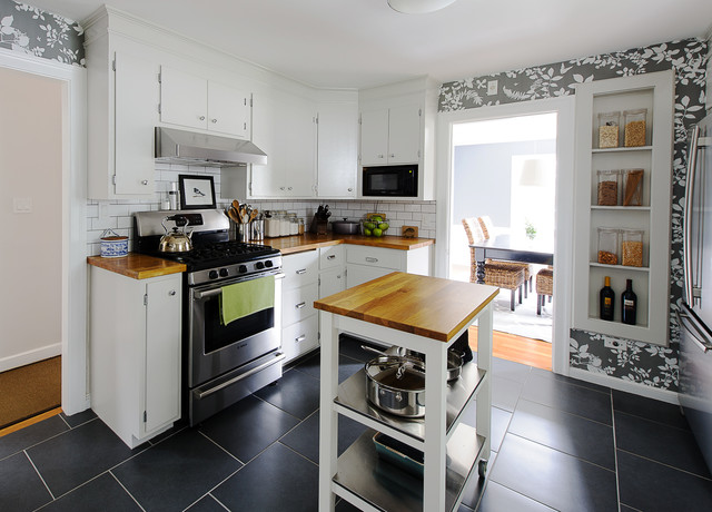 Example Of A Classic Enclosed Kitchen Design In Boston With Flat Panel Cabinets White