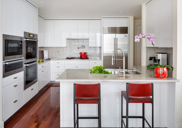 boston ma white high gloss kitchen contemporary