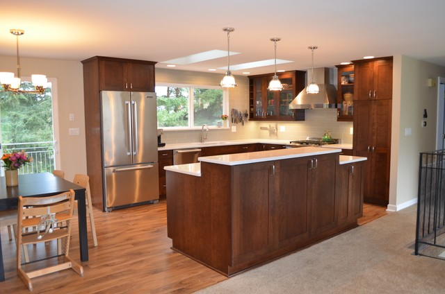 Bothell split level home kitchen remodel transitional for Bi level house remodel