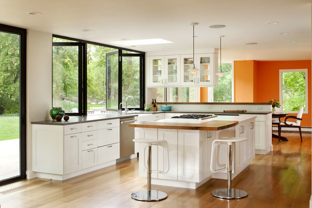 Window Design Ideas home windows wood design Elegant Kitchen Photo In Denver With Wood Countertops Shaker Cabinets White Cabinets White