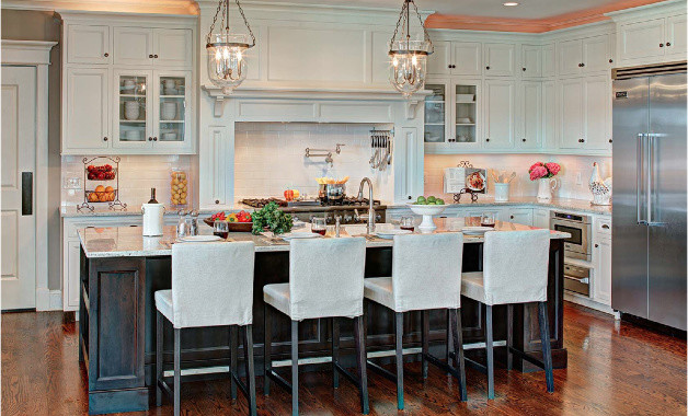 Elegant Classic Kitchen   White Flush Inset And Espresso Island Traditional Kitchen