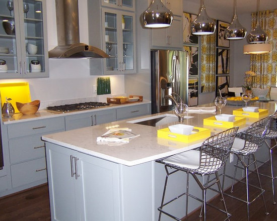 with Stainless Steel Appliances, Gray Cabinets and Granite Countertops