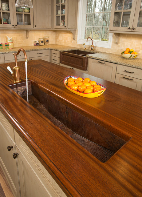 Brass trough sink in kitchen island - Traditional - Kitchen - DC ...