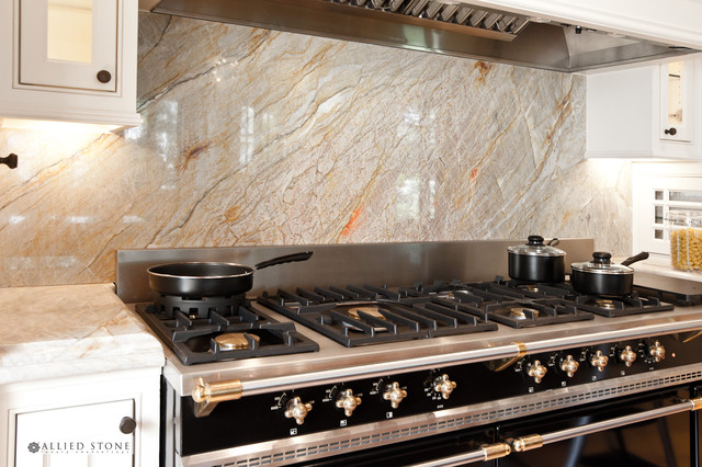Brazilian Dream Quartzite Countertop + Island Contemporary Kitchen
