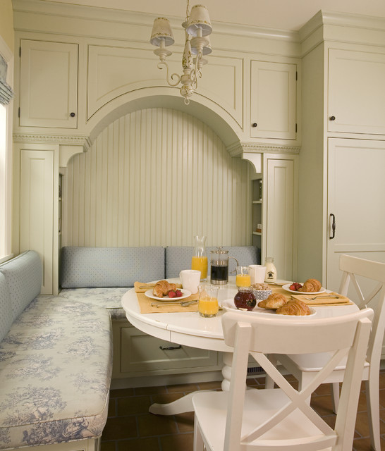 Breakfast nook with built in seating and storage traditional kitchen