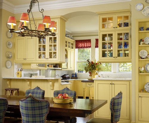 French Country Kitchens like this Breakfast Room & traditional style kitchen is beautiful. I love the red and white checked chandelier