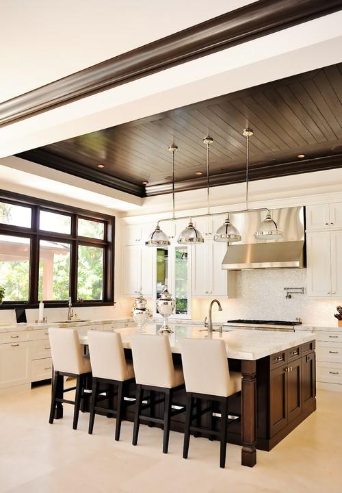 Dark wood trim through the front door for Houzz contemporary kitchens