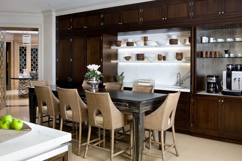 Eat-in kitchen - contemporary eat-in kitchen idea in Toronto with recessed-panel cabinets, dark wood cabinets and white backsplash