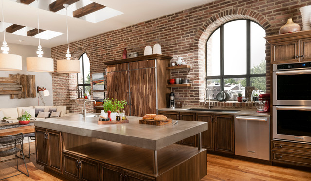 Brick Accent Wall In Contemporary Loft Kitchen