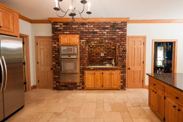 Brick accent wall traditional kitchen other metro for Kitchen accent wall