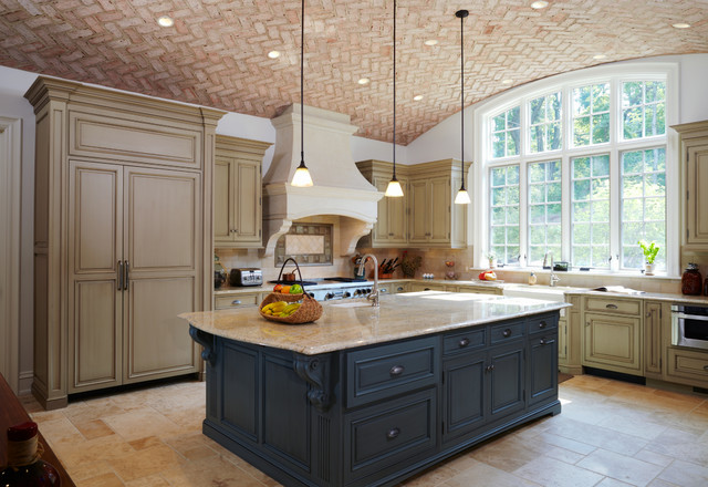 Brick arched ceiling in kitchen traditional kitchen for Arched kitchen cabinets