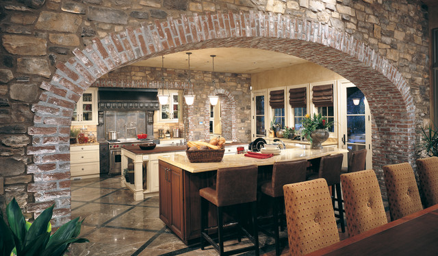 Brick Archway and Stone Kitchen Wall