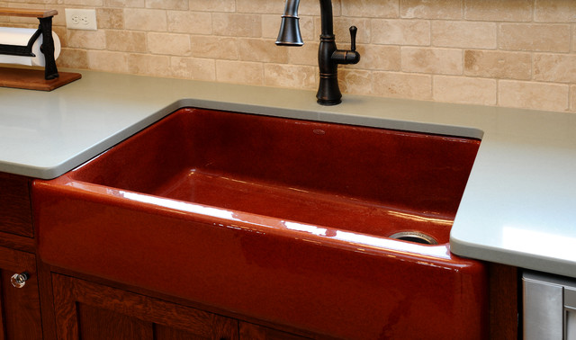 Brick colored kitchen sink with hand rubbed oil finish farmhouse kitchen other metro by - Coloured sinks kitchens ...