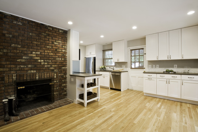 Brick Fireplace Kitchen