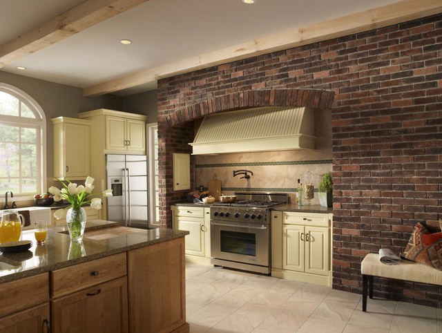 Brick Kitchen Accent Wall - traditional - kitchen - by Eldorado Stone