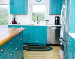 Bold and Blue eclectic kitchen