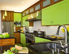 Lime Green and Clean Ktichen Design modern kitchen