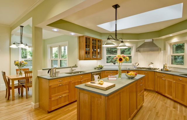 Elegant Eat In Kitchen Photo Boston With Medium Tone Wood Cabinets And Green Countertops