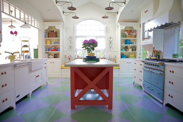 Example Of A Coastal Painted Wood Floor And Multicolored Floor Kitchen  Design In Los Angeles With