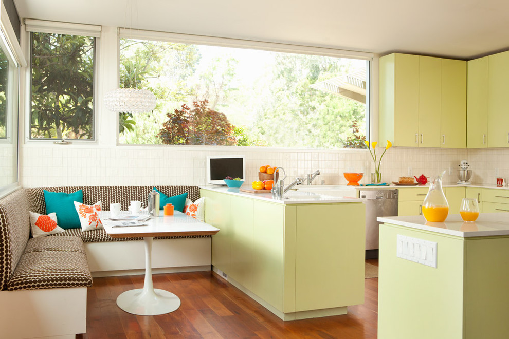 Inspiration for a contemporary kitchen remodel in San Francisco with yellow cabinets and flat-panel cabinets