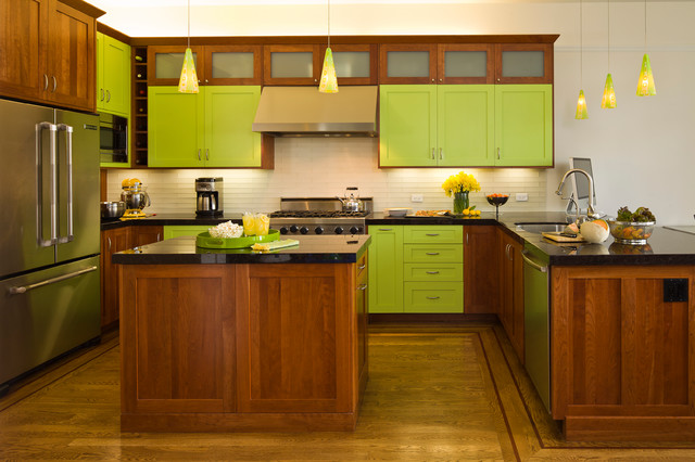 Bright Lime Green Eclectic Kitchen