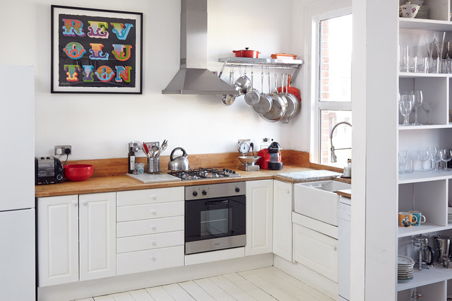 pot and pan ceiling rack ideas - Bright Victorian London Flat Scandinavian Kitchen