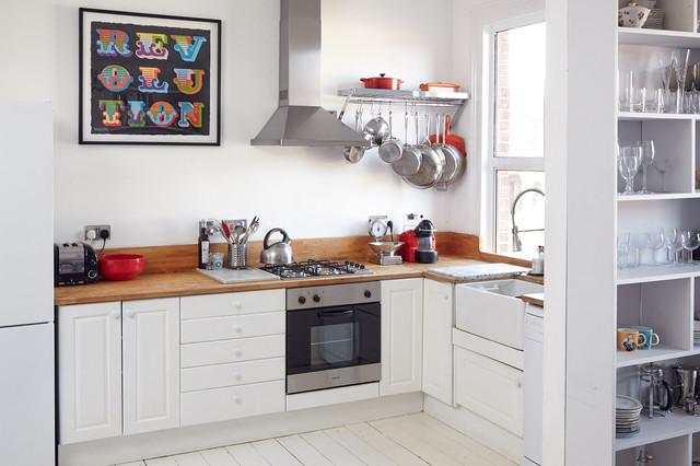 pot and pan ceiling rack ideas - Bright Victorian London Flat Scandinavian Kitchen