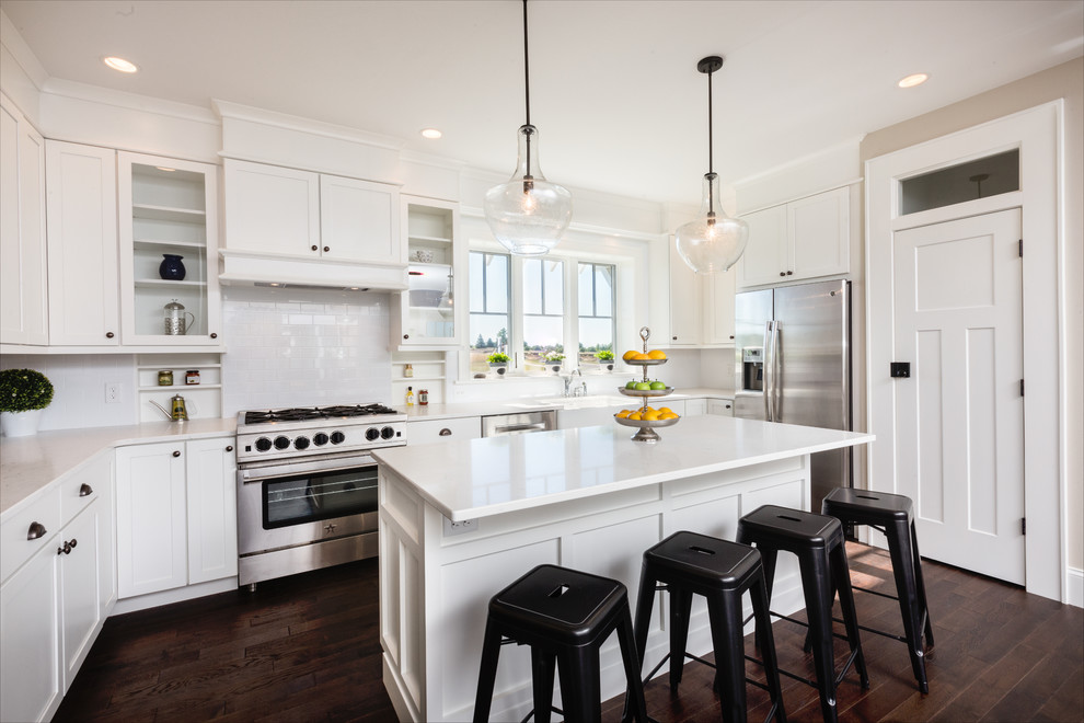 Bright White Shaker Cabinets in Modern Farmhouse Kitchen ...