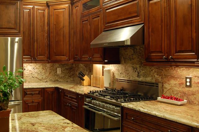 Bristol mocha seinna bordeaux granite traditional for Kitchen cabinets tampa