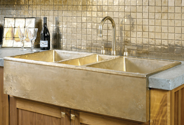 bronze kitchen sink and backsplash - traditional - kitchen - other