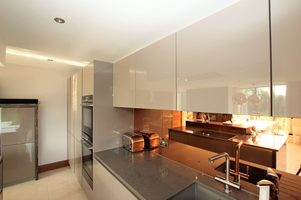 Bronze Mirror Glass Splashback Contemporary Kitchen London By Lwk London Kitchens,Portable Kitchen Island With Pot Rack