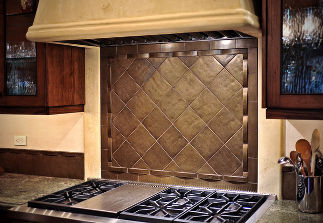 Bronze tile backsplash over stove - Traditional - Kitchen - other metro - by Rocky Mountain Hardware