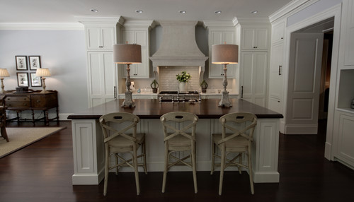 Stunning kitchen! What is the ceiling height, & what cabinet height do you recommend for 10 ft ...