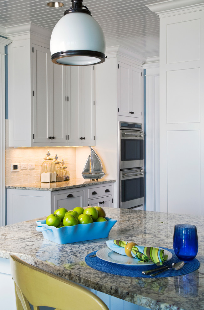 Brookhaven Recessed Panel White Kitchen Cabinets With Crema Romano Countertops Traditional Kitchen Chicago By Orren Pickell Building Group