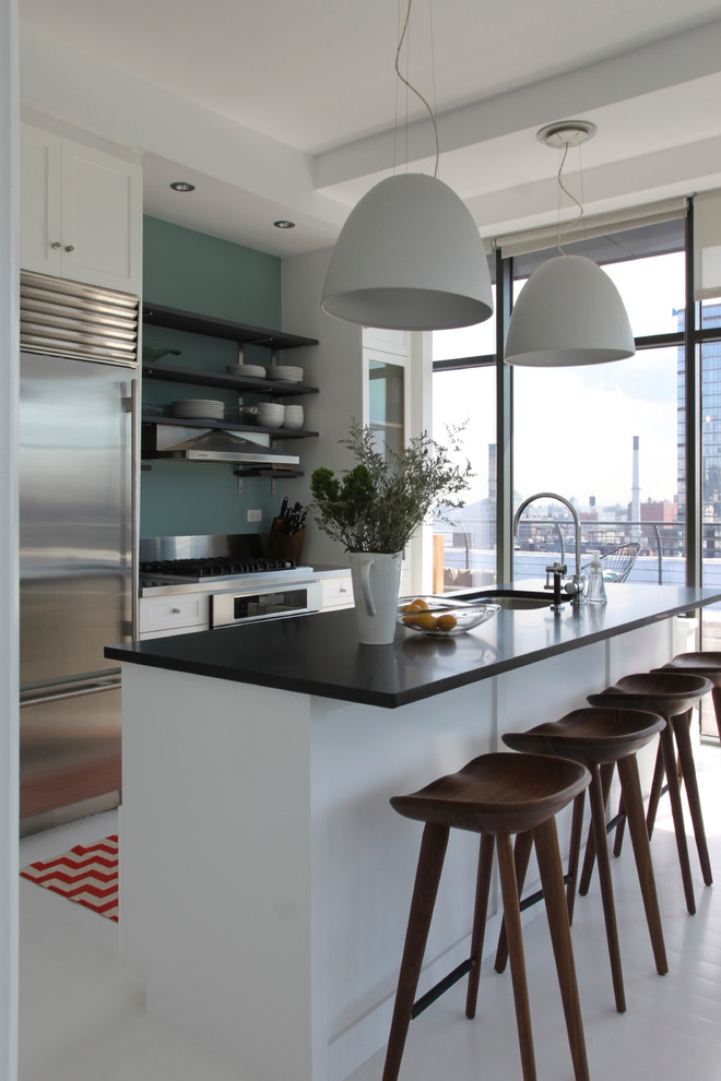 Brooklyn penthouse - Contemporary - Kitchen - New York ...