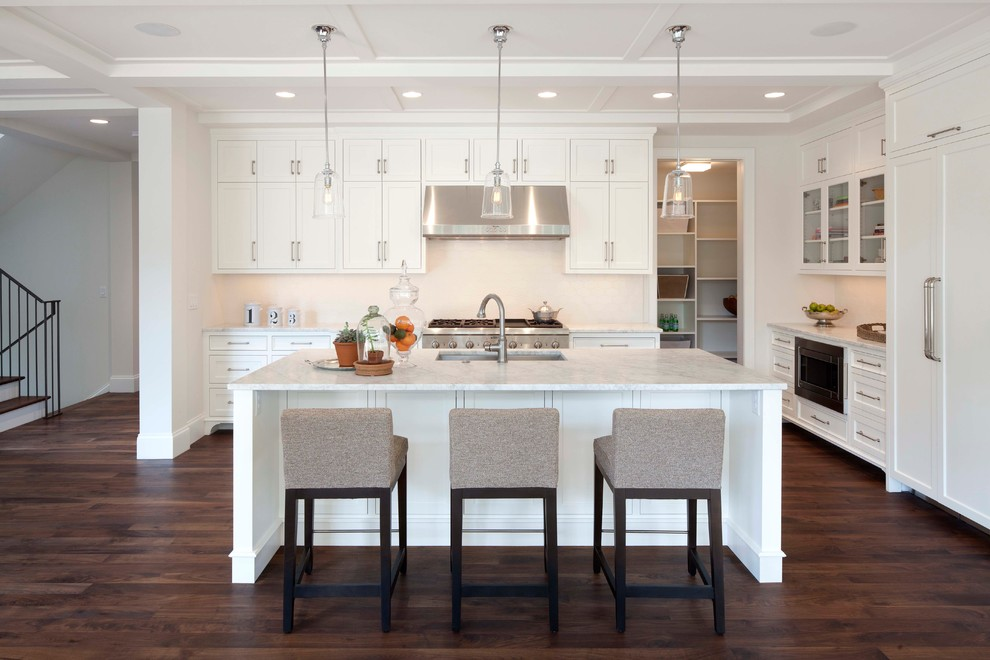 Example of a trendy kitchen design in Minneapolis with marble countertops