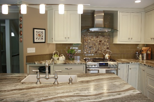 Brown Fantasy Leathered Quartzite Kitchen - Transitional - Kitchen ...