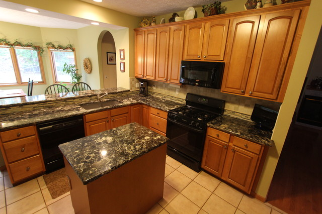 Brown Quartz Countertop with Beige Tile Backsplash ~ Broadview Heights, OH - Traditional ...