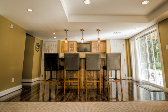 Buck Lane Finished Basement with Bar traditional-kitchen