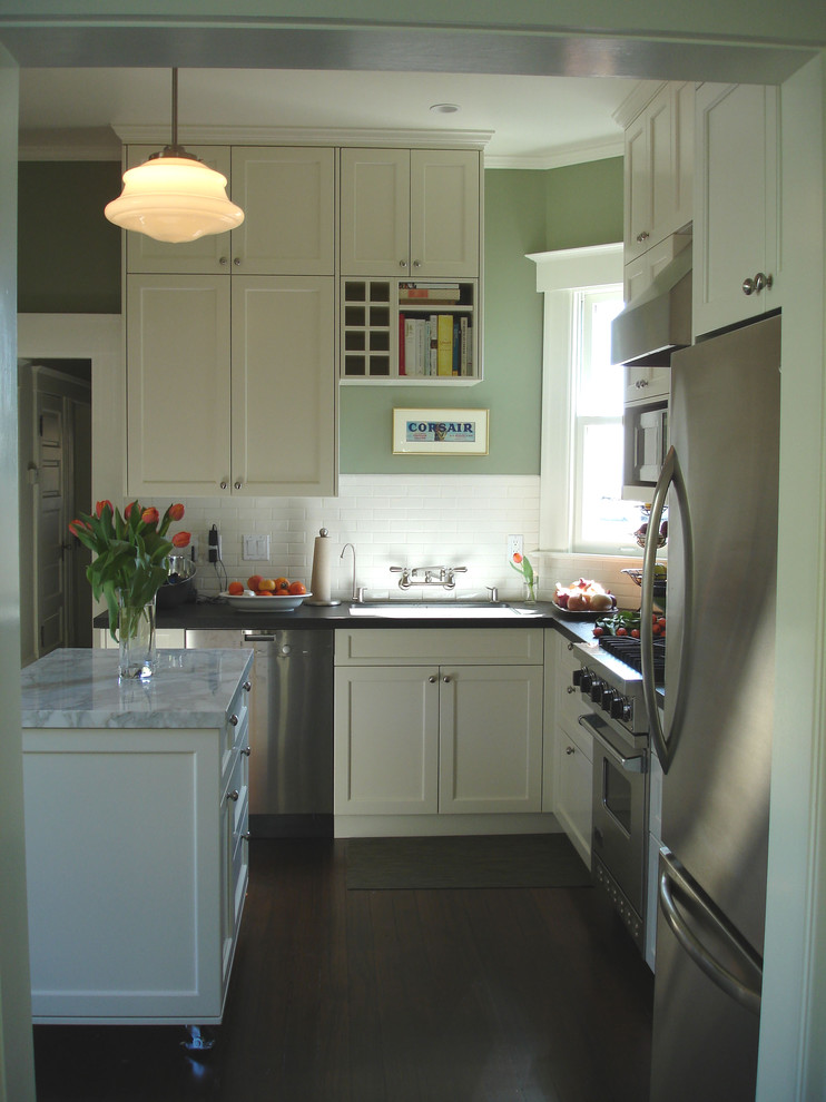 Inspiration for a timeless kitchen remodel in San Francisco with subway tile backsplash and marble countertops