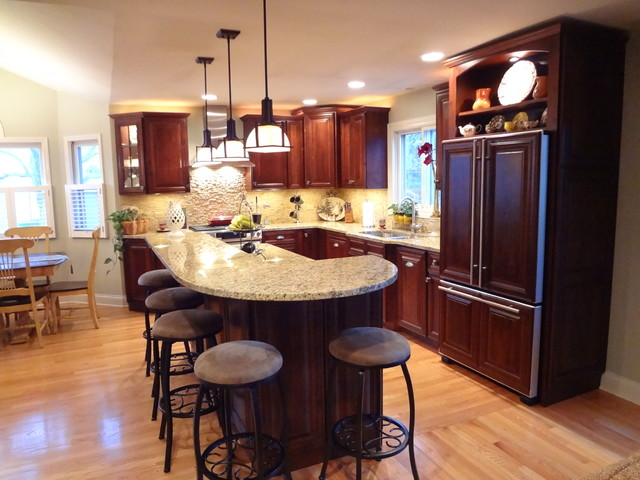 Kitchen designs with islands large kitchen island kitchen islands - Buffalo Grove Kitchen With 2 Tier Island Traditional