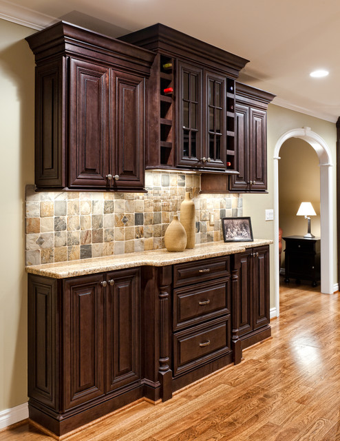 Buffet With Wine Racks Traditional Kitchen