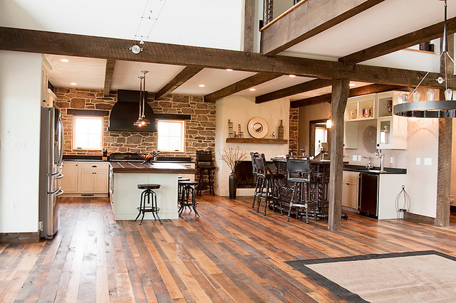 Building with reclaimed wood stone and tin farmhouse kitchen dc metro by shenandoah - Reclaimed wood kitchens ...