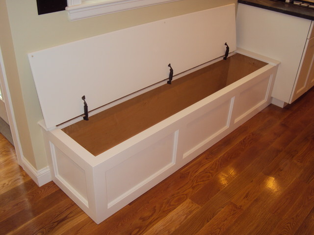 Built in bench storage traditional kitchen boston by dishington construction inc - Kitchen bench designs ...