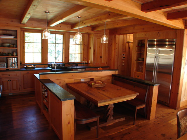 Built in dining area rustic kitchen boston by for Rustic dining area