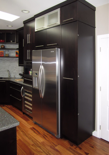 Built in Fridge, Wine Fridge, Coffee Maker, and Prep Sink. - Modern - Kitchen - Vancouver - by ...