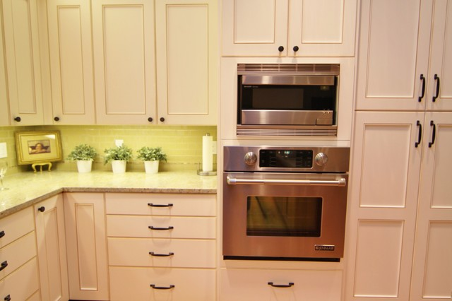 Built in microwave and oven. Pantry to rt. - Traditional - Kitchen - Portland - by Designer's ...